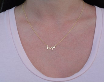 Hope necklace. Sterling silver hope necklace. Word hope necklace. Inspirational necklace. Rose gold hope necklace. Gold hope necklace.