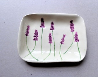 Purple lavender ceramic small serving plate, botanical texture earthenware pottery rectangle dish, functional or decorative tinket dish