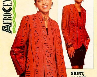 Vintage Butterick 938 - Misses' Afrocentric Unlined Swing Coat, Skirt, and Jacket - Essence Collection - Sz 6 - 22 All Sizes Available
