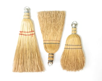 Instant Collection of 3 Vintage Whisk Brooms - 3 Old Sweeper Brooms - Farmhouse Decor - Vintage Whisk Brush - Old Straw Brushes