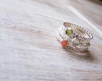Gemstone Stack Ring Set