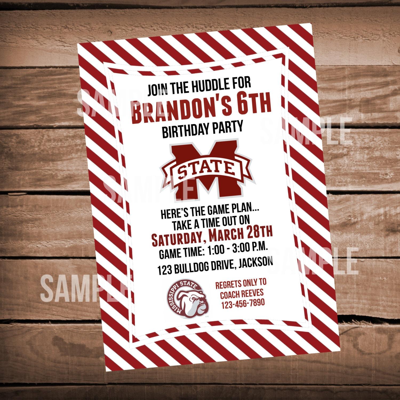 Mississippi State Bulldogs Football Birthday Party Invitation