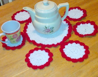 Set of 6 Red and white coasters with matching placemat