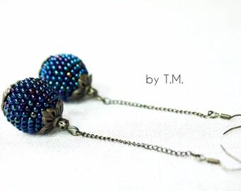 Ball earrings Bon bon earrings Beaded ball earrings Long earrings Chain earrings Seed bead ball Crochet earrings Globe earrings Wabi sabi