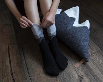 Aerial Perspective Black Socks / Urban Hiker Cotton Socks / Casual Cotton Socks / Designer Socks / Outdoor Socks