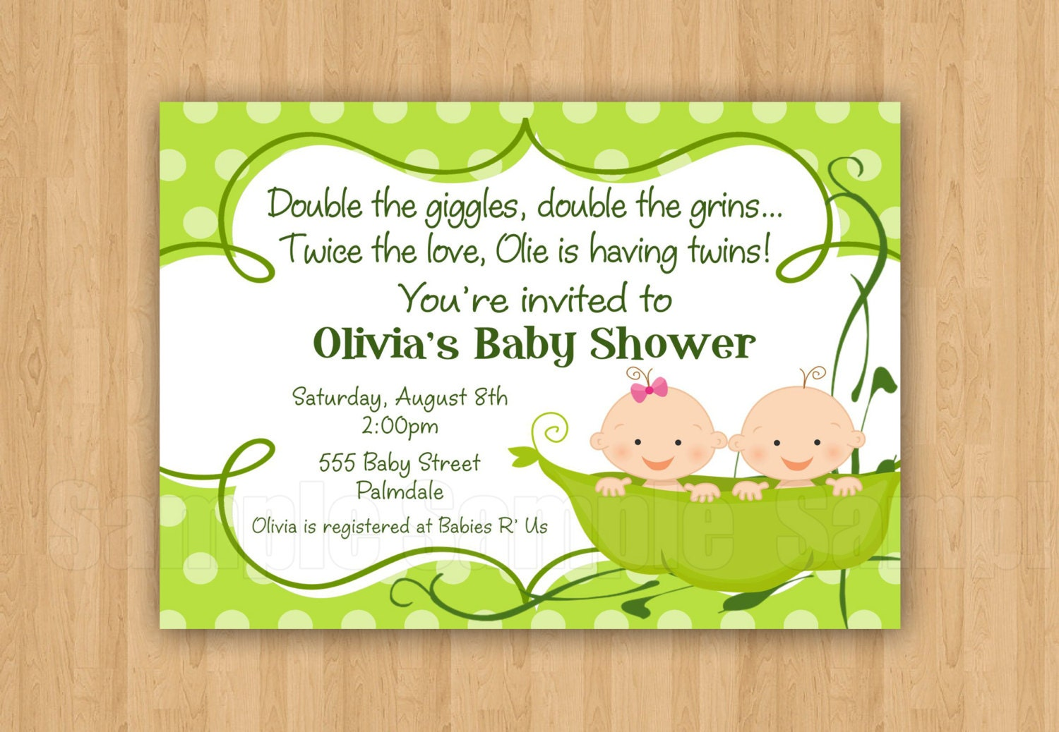 10 PRINTED Two Peas in a Pod Baby Shower Invitations with
