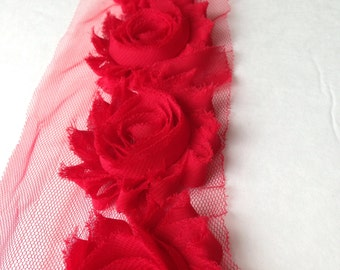 Scarlet Red Chiffon flower shabby frayed rosette
