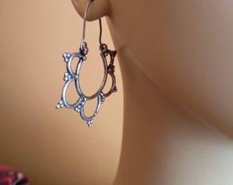 Ethnic Mandala Flower Earrings Silver-Tone Modern Tribal Jewelry Bohemian Chic