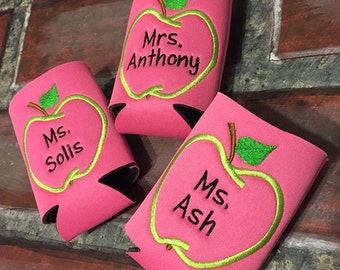 Teacher Apple Pink Can Holder - Name + Apple, Teacher Appreciation gift