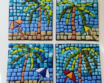 Fused Glass Mosaic Beach Art