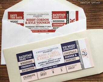 Concert Ticket with Envelope / Save The Date Wedding Birthday Bat/Bar Mitzvah Bridal Shower