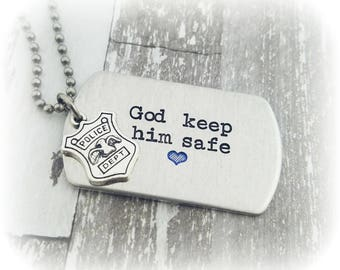 Police Officer Gift - Police Husband - Police Son - Thin Blue Line Blue Heart Necklace or Keychain - Police Badge Keep Him Safe Gift