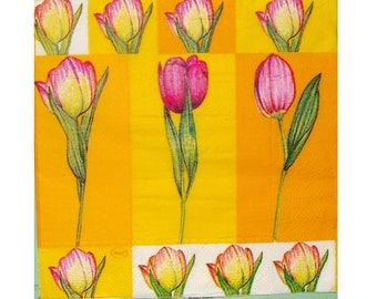 Set of 3 paper napkins PLA027 Pink Tulip yellow background
