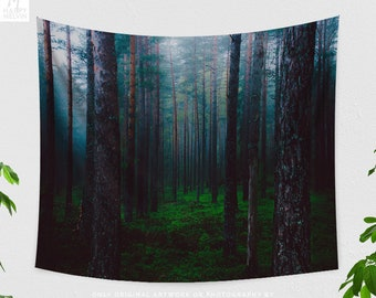 Magical Forest Tapestry, Nature Wall Tapestry, Foggy Forest Wall Tapestry, Bohemain Wall Decor, Nature Photo, Nature Wall Art, Gift, Indie
