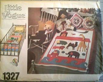 Noah's Ark Crib or Twin Bed Quilt Pattern with Transfers Little Vogue 1327