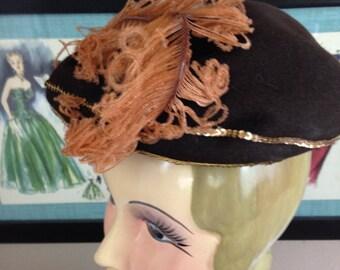 1940s hat brown hat 40s hat feather hat vintage hat evening hat wool sequins