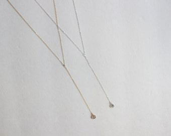 CZ Lariat Necklace // 14k Gold Filled or Sterling Silver CZ Lariat Necklace
