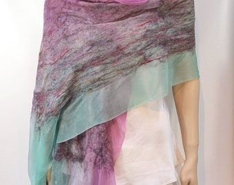 Felted Scarf-Shawl- In Stock Fast Ship - Pink and Green sheer cashmere-soft wool and silk