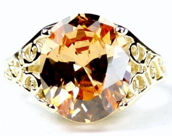 Champagne CZ, 14KY Gold Ring, R057