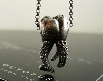 SALE - Wisdom Tooth, Tentacle Pendant, Octopus Tentacle, Cthulhu, Molar jewelry, tooth, Sterling silver, tentacle jewelry