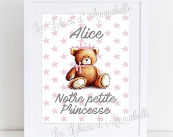 """Baby bear """"Our little Princess"""" poster personalized"""