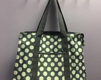 Personalized Grey Polka Dot Oversized Tote Bag