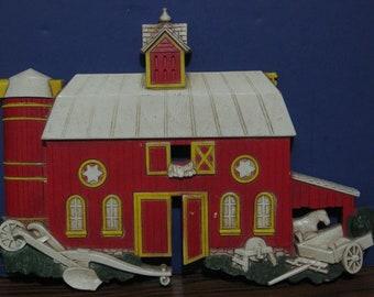 "Homco Plastic Barn and Silo Wall Plaque #7369 - 12"" x 8 1/4"" - 1975 Vintage"