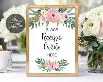 Floral recipe card sign, Recipe cards sign, Recipe card bridal shower sign, Recipe Card Sign Instant Download File, Boho recipe sign