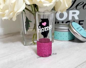 State Shot Glass,  Home Shot Glass, Glitter Shot Glass, Moving Away Gift, Long Distance Shot Glass, Custom Shot Glass, Long Distance Friend