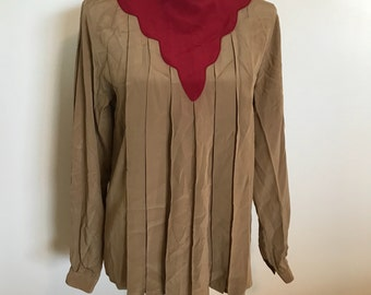 CHRISTIAN DIOR 100% Silk BLOUSE 10 Pleated Front Tan Burgundy Shirt Top 80s