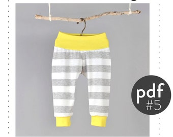 Kids cuff pants sewing pattern pdf // cuff ankles and waist // photo tutorial // sizes Preemie to 6T // #5