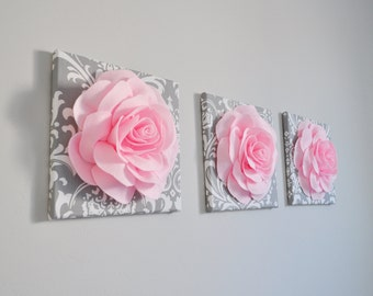 Nursery Decor - Trio Set 12 x 12 Canvases WALL Decor Light Pink Roses on Gray / White Damask art Picture Decor for Bedroom Bathroom Nursery