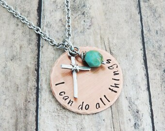 I Can Do All Things Necklace - Christian Jewelry - Religious Necklace -  Bible Verse Jewelry -  Inspirational Gift - Philippians 4:13