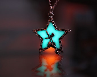 FAIRY in Star / GLOW in the DARK / Star Necklace / Fairy Necklace/