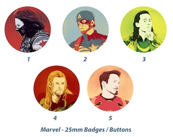 Marvel (Bucky Barnes / Winter Soldier, Steve Rogers / Captain America, Loki, Thor, Tony Stark / Iron Man) - 25mm Badges