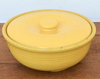 Garden City Pottery, Covered Casserole, Yellow Pottery, Made in California, San Jose Pottery