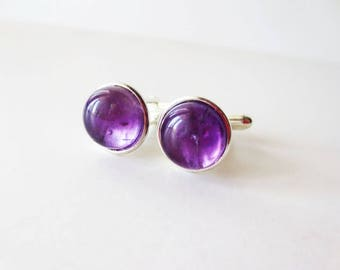 Amethyst cuff links. Gemstone cuff links. Purple cuff links.  Silver cuff links. 12mm cuff links. Dark purple. February birthstone.