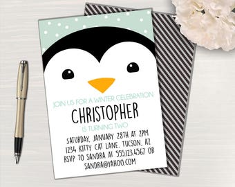 Penguin Party Invitation // Penguin Birthday Invitation // Penguin Invitation // Penguin Party Invite // Penguin Birthday Party Invite