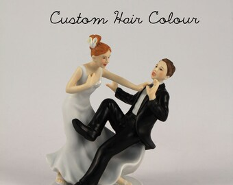 "Comical Wedding Cake Topper - Bride and Groom - ""Taking the Plunge"" Wedding Cake Topper - Personalized Wedding Cake Topper - Porcelain"