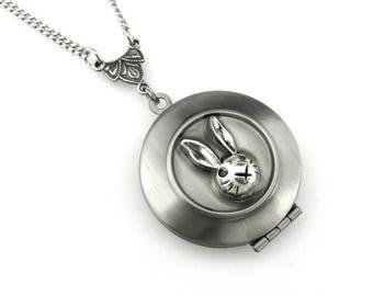 Rabbit Locket Pendant - Bunny Locket Necklace - Edwardian Locket - Hopping Locket - Rabbit ears locket picture locket - Animal Locket
