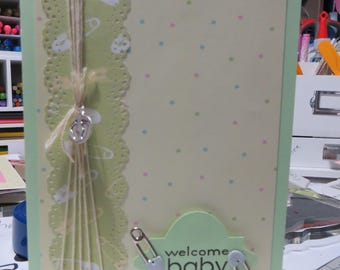 Baby card, Boy or girl card, Neutral colors baby card, handmade card