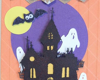 Haunted Boo Card/Homemade-Handmade Card/Kid Halloween Card/Dimensional Card/Happy Halloween/Holiday Cards/Greeting Cards