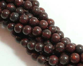 Brecciated jasper (natural) Stone Bead, 6mm round, you pick 8 beads, 16 beads, half strand, or full 16 inch strand |GS-0006-06