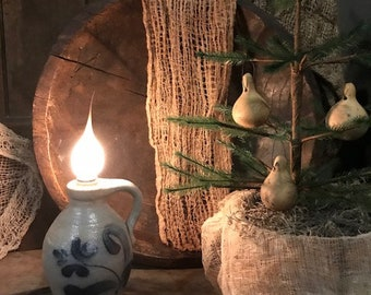 Primitive Rockdale Union Pottery Jug Lamp Light Stone Ware Crock Salt Glaze Vintage