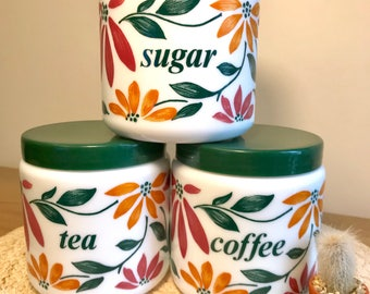 Vintage CLP Italian Milk Glass Canisters / Tea Coffee Sugar
