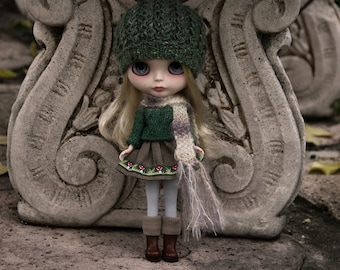 PATTERN - Handsomely Tweedy knitted hat for Blythe INSTANT DOWNLOAD