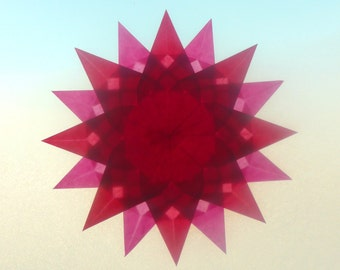 Summer Window Transparency - Pink Red Suncatcher Window Star Decoration - Waldorf Inspired