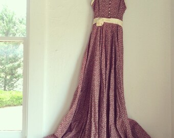 GUNNE SAX bohemian long sun dress spaghetti straps pearl buttons