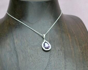 Purple crystal necklace, amethyst drop necklace, bridesmaid necklace,  purple wedding jewelry