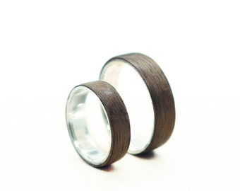 Silver and Wood Ring, Wooden Wedding Ring, Walnut Wood Ring, Handmade Bentwood Ring, Dark Wooden Ring